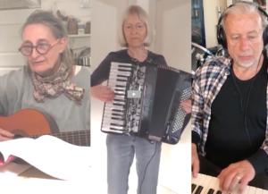 Marianne Kristensen spiller guitar i Bedsteforældrenes Klimaaktion